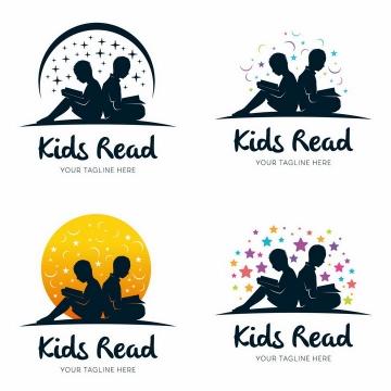 4款背靠背正在读书阅读的孩子剪影logo设计方案png图片免抠矢量素材