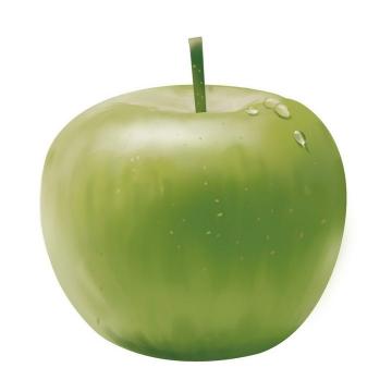 翠绿色带水珠的青苹果水果图片免抠素材