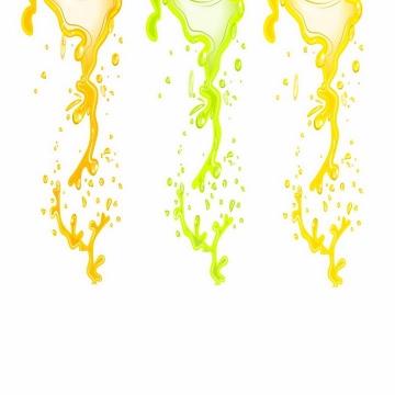 橙色绿色黄色的橙汁猕猴桃汁芒果汁等果汁液体流淌效果png图片免抠ai矢量素材