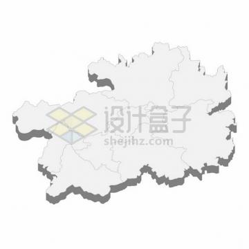 贵州省地图3D立体阴影行政划分地图790593png矢量图片素材