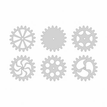6款金属银灰色卡通齿轮图案584396AI矢量图片素材