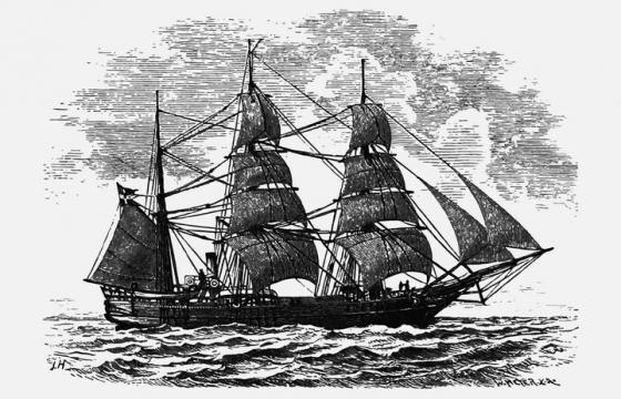 手绘素描插画风格大海上的帆船图片免抠素材