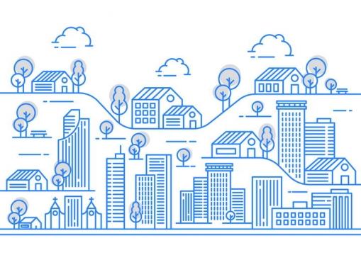 蓝色断点风格线条城市建筑图片免抠矢量图素材