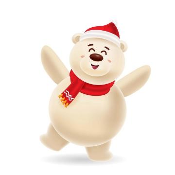 戴着圣诞帽跳舞的可爱卡通北极熊图片免抠矢量图素材
