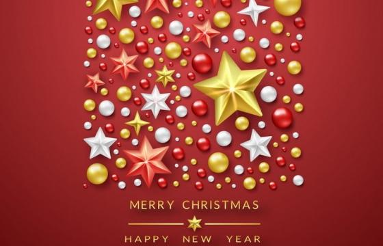 唯美风格立体星星圆球组成的圣诞节装饰免抠图片素材