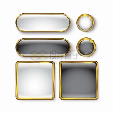 金色金属光泽边框圆角方形水晶按钮png图片素材