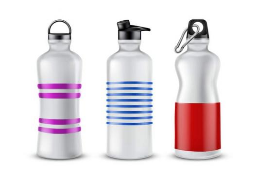 三款不锈钢运动水杯保温杯图片免抠素材