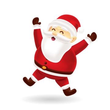 戴着圣诞帽跳舞的可爱卡通圣诞老人图片免抠矢量图素材