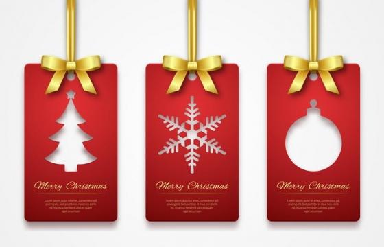 唯美风格金色蝴蝶结红色标签圣诞节免抠图片素材