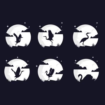 6款灰白色月亮背景和各种仙鹤天鹅优雅的鸟儿剪影logo设计方案png图片免抠矢量素材