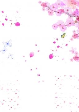 水彩画风格的桃花和蝴蝶图片免抠素材
