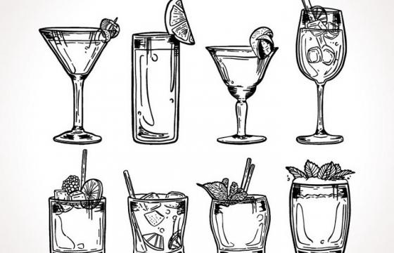 8款手绘素描插画风格加冰块的冷饮饮料图片免抠素材