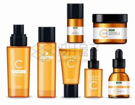 金色维生素C面膜精华液化妆品护肤品香精等png图片素材