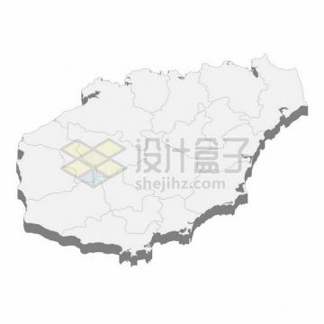 海南省地图3D立体阴影行政划分地图844258png矢量图片素材