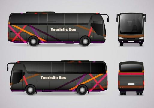 两款逼真的黑色巴士长途汽车客车双视图图片免抠素材