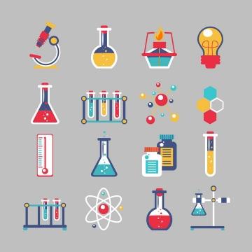 16款各种不同类型的彩色化学实验用品免扣图片素材