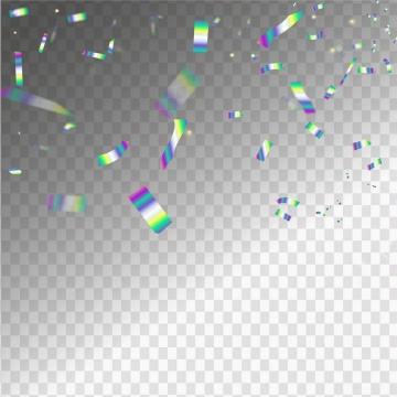 飘落的彩色渐变色碎纸片彩带装饰图片免抠矢量图素材
