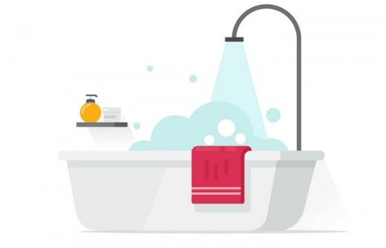 扁平化风格放洗澡水的浴缸图片免抠素材