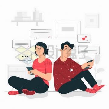 坐在地上背靠背的男女情侣正在相互发微信扁平插画png图片免抠矢量素材