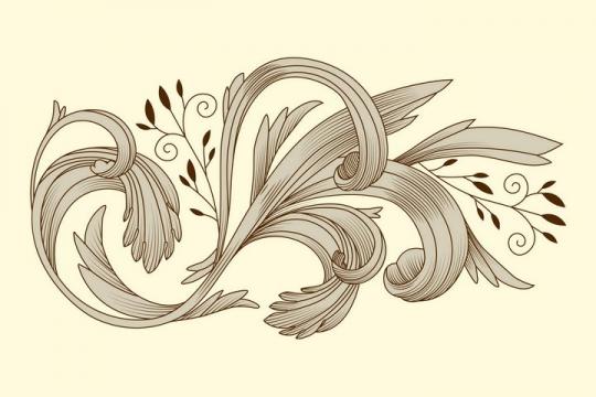 手绘素描风格灰色复古的叶子花纹装饰图案图片免抠矢量素材
