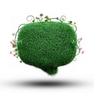 创意逼真绿色草坪组成的对话框文本框标题框487261png图片素材