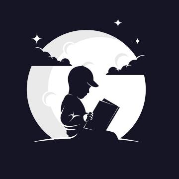 灰白色月亮背景前坐在地上看书阅读的小男孩剪影logo设计方案png图片免抠矢量素材