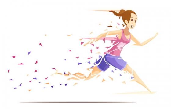 碎片碎纸风格卡通奔跑的女孩子运动员图片免抠素材