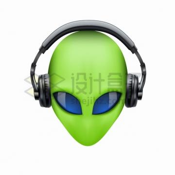 绿色的外星人戴着耳机听歌png图片素材