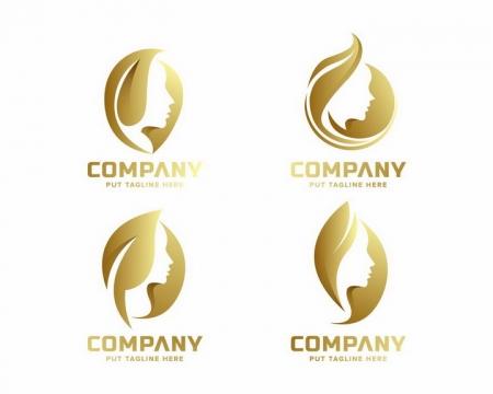 4款金发美女美容美发logo设计方案png图片免抠矢量素材