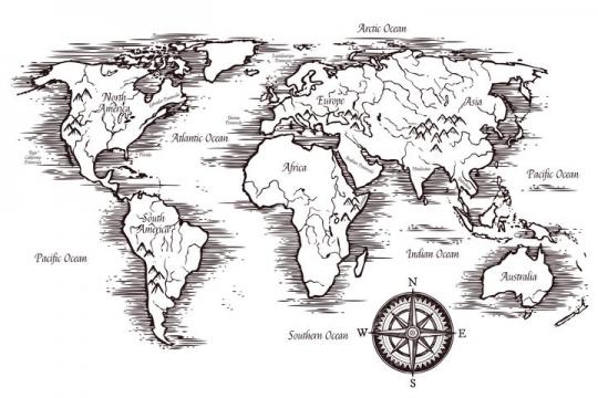 手绘复古风格的世界地图描述会山脉和河流图片免抠矢量素材