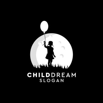 灰白色月亮背景前牵着气球的小女孩剪影logo设计方案png图片免抠矢量素材