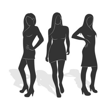手绘风格黑白色女性身材展示免扣图片素材