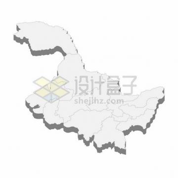 黑龙江省地图3D立体阴影行政划分地图168088png矢量图片素材