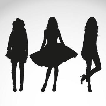 三个不同风格美女女性剪影免扣图片素材