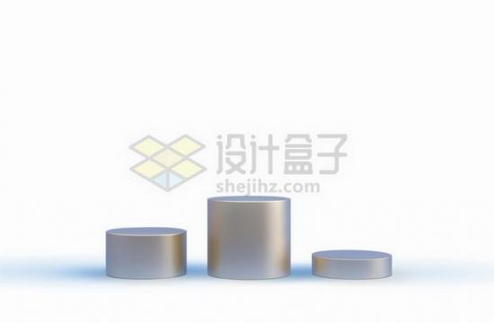 银灰色圆柱形展台舞台颁奖台高低各不同png图片免抠矢量素材