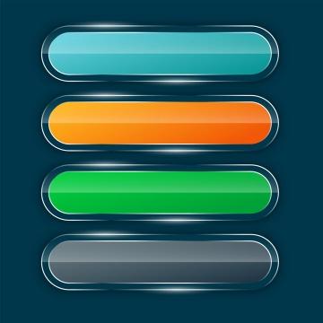 4款半透明玻璃效果彩色椭圆形水晶按钮图片免抠矢量素材