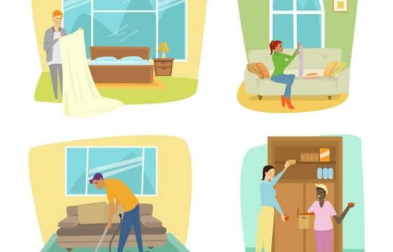 4款插画风格整理衣物用吸尘器等大扫除图片免抠矢量图素材