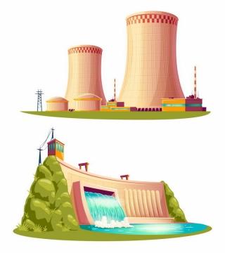 卡通漫画风格火力发电站和水力发电站png图片免抠矢量素材