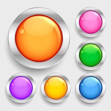 6款玻璃效果圆形水晶按钮图片免抠矢量素材
