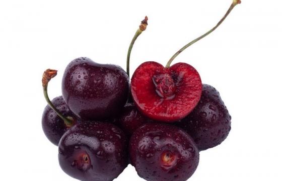 一小堆带水珠的樱桃车厘子水果图片免抠素材