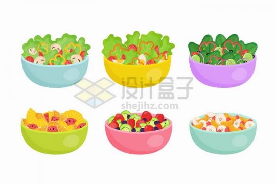 6款蔬菜和水果拼盘色拉美味美食png图片免抠矢量素材