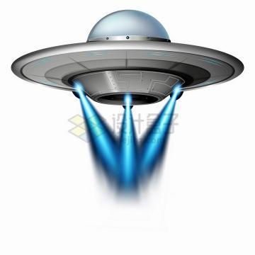 银灰色的飞碟UFO发出蓝色光芒png图片免抠矢量素材