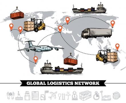 灰色世界地图和世界航运物流交通示意图