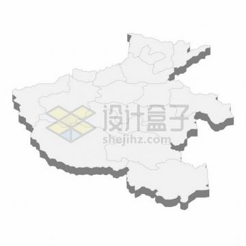 河南省地图3D立体阴影行政划分地图592413png矢量图片素材