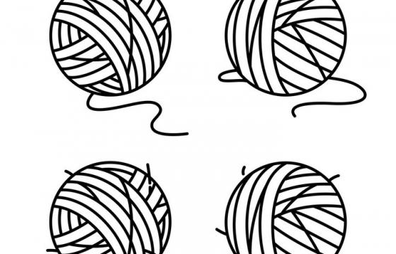 四款黑白手绘风格毛线球免抠图片素材