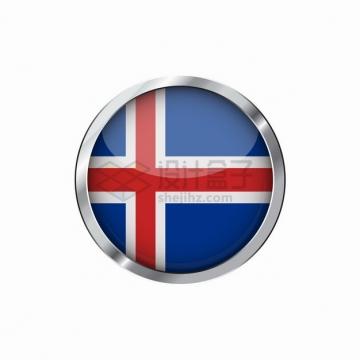 银色金属光泽边框冰岛国旗图案圆形按钮png图片素材