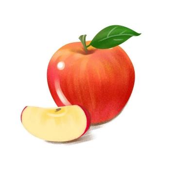 手绘风格切开的红苹果水果图片免抠素材