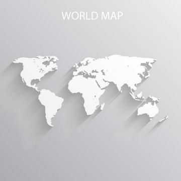 长阴影的空白世界地图立体风格地图图片免抠矢量素材