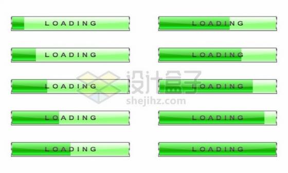 绿色水晶进度条loading加载按钮设计png图片免抠矢量素材