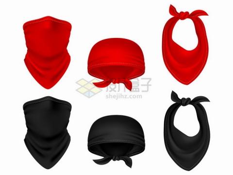 红色和黑色的巴拉克拉法帽以及头巾脖巾png图片免抠矢量素材